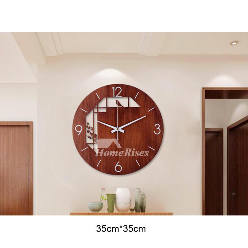Big Round Black Wood Grain Nordic Home, Big Round Clock