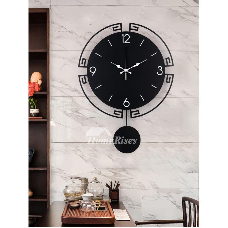 Black Pendulum Wall Clock 20 Inch Modern Decorative Living Room
