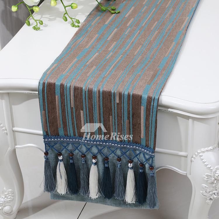 Chenille Blue Stripe Cotton Linen Table Runner Coffee 120