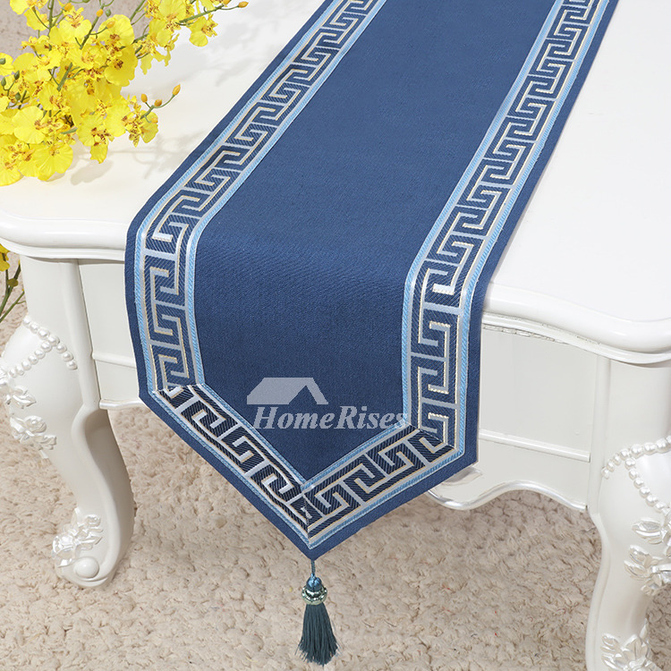 Dining Table Runner Tablecloth Short Country Holiday Blue 120 Inch