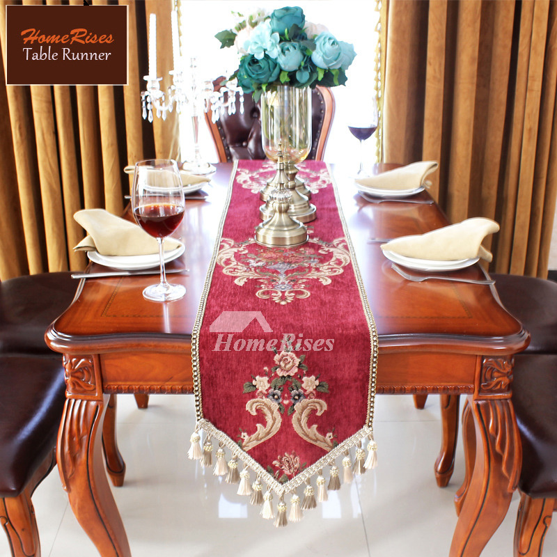 Palace European Table Runner Classical Blue Red Luxury Tassel Fancy