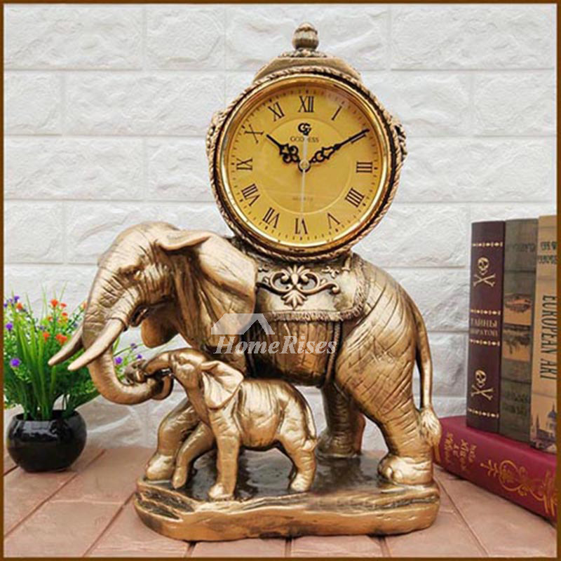 Elephant Living Room Quartz Ornaments Table Clock Desktop