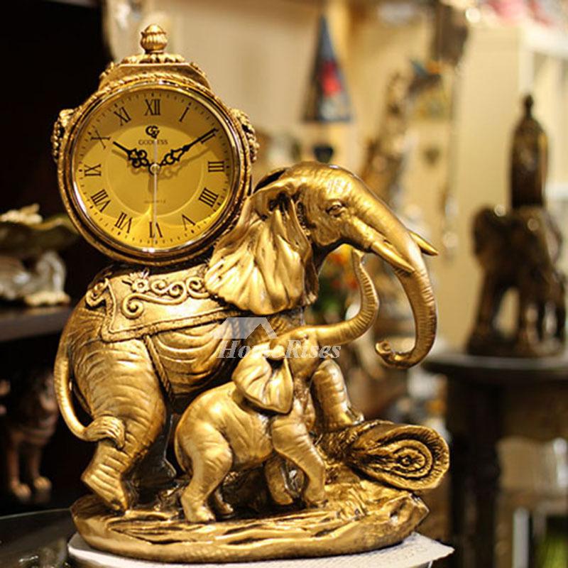 . Elephant Living Room Quartz Ornaments Table Clock Desktop Pendulum