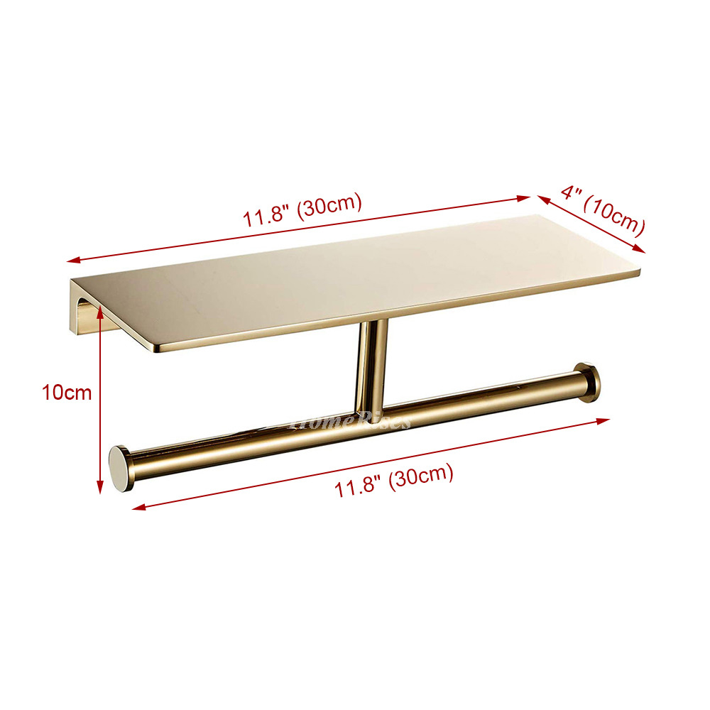 High End Double Gold Toilet Paper Holder Wall Mount Paper