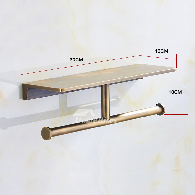 Antique Double Brushed Bronze Commercial Toilet Paper Holder Br Unique Wall Mounted Bathroom Towel With Shelf