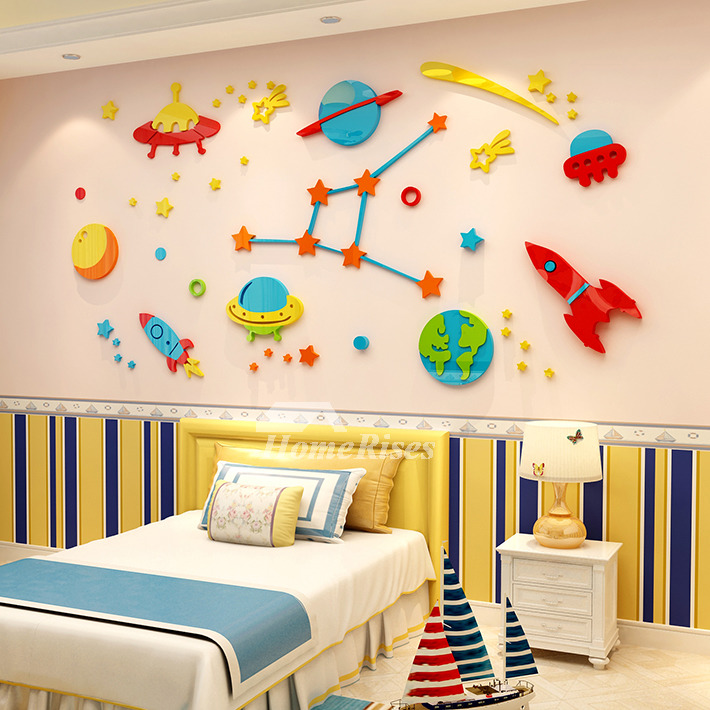 3D Vinyl Wall Decor Stickers For Kids Acrylic Nursery School Home Decor  Cartoon Space Classroom Small/Medium/Large Bedroom Self Adhesive