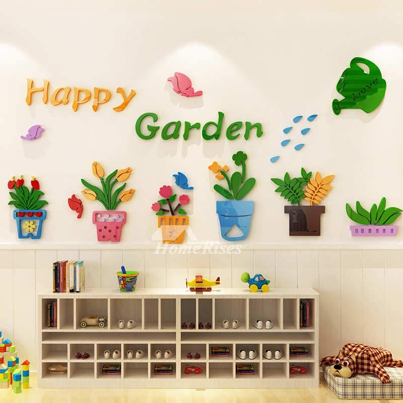 Vinyl Wall Decor Stickers Acrylic For Kids Flower Kindergarten Cartoon Clroom Baby Room Self Adhesive Art Deco Colorful