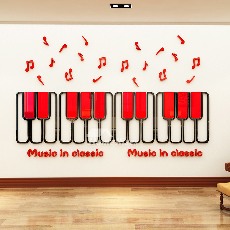 3d Wall Stickers For Kids Piano Key Home Decor Classroom Nursery School Vinyl Music Redgreenpink Cartoon Kids Room Self Adhesive