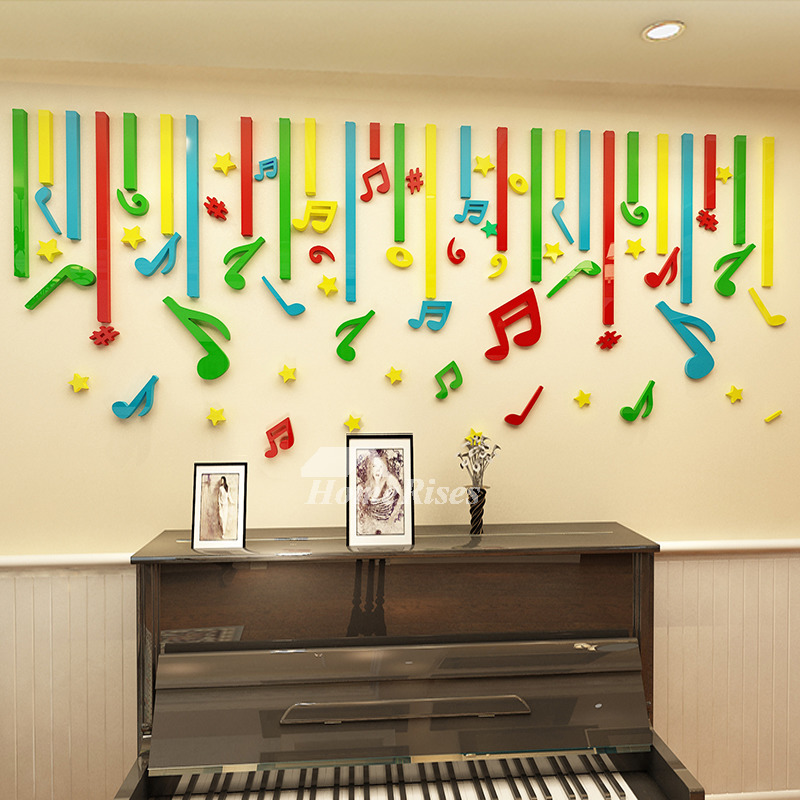 3D Wall Stickers Music Vinyl Home Decor For Kids Art Nursery School Cartoon  Classroom Acrylic Colorful Bedroom Self Adhesive Design