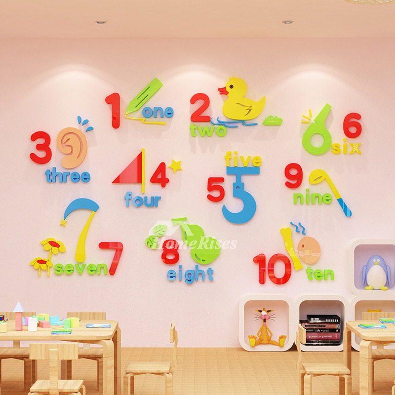Wall Decor Stickers For Kids Art Bedrooms Vinyl Home Nursery School Clroom Acrylic Number Shape Colorful Self Adhesive