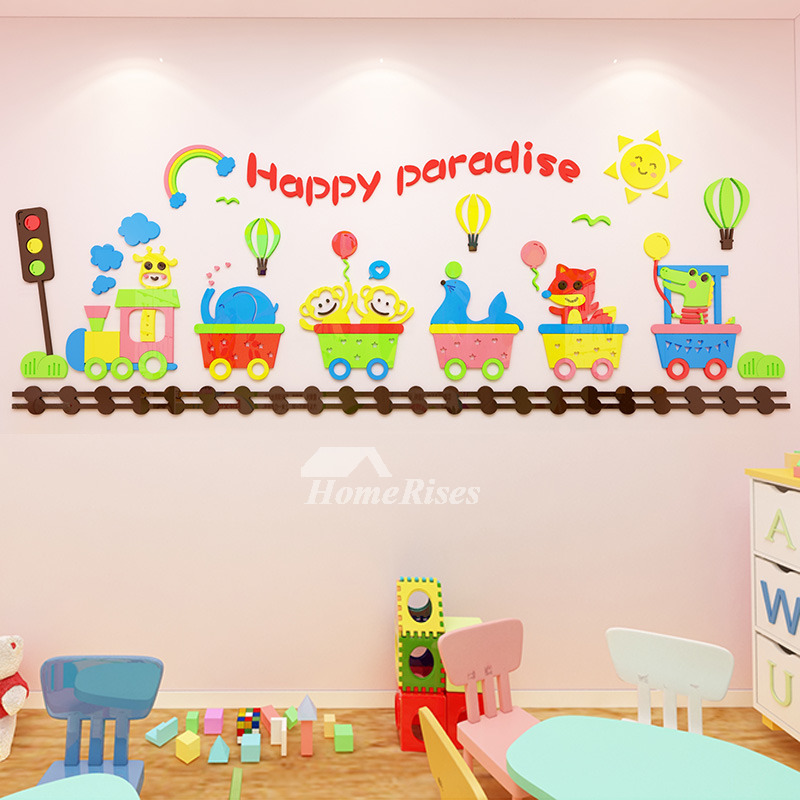 3d Vinyl Wall Decor Stickers For Kids Home Decor Cartoon Nursery School Classroom Acrylic Bedrooms Living Room Animal Colorful Train