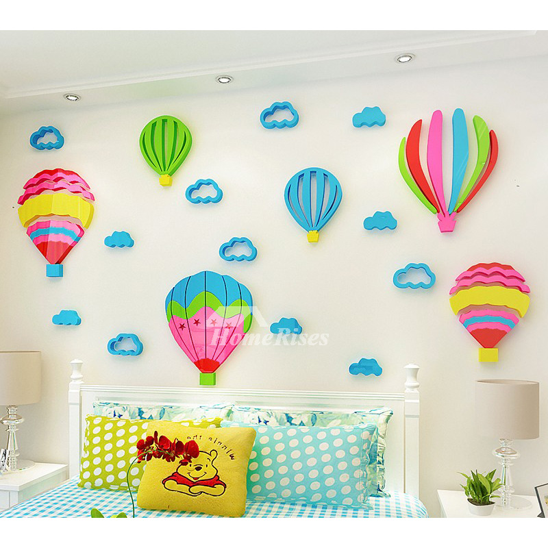 Children S Room Decoration 3d Acrylic Wall Stickers Hot Air Balloon Cute Bedroom Girls