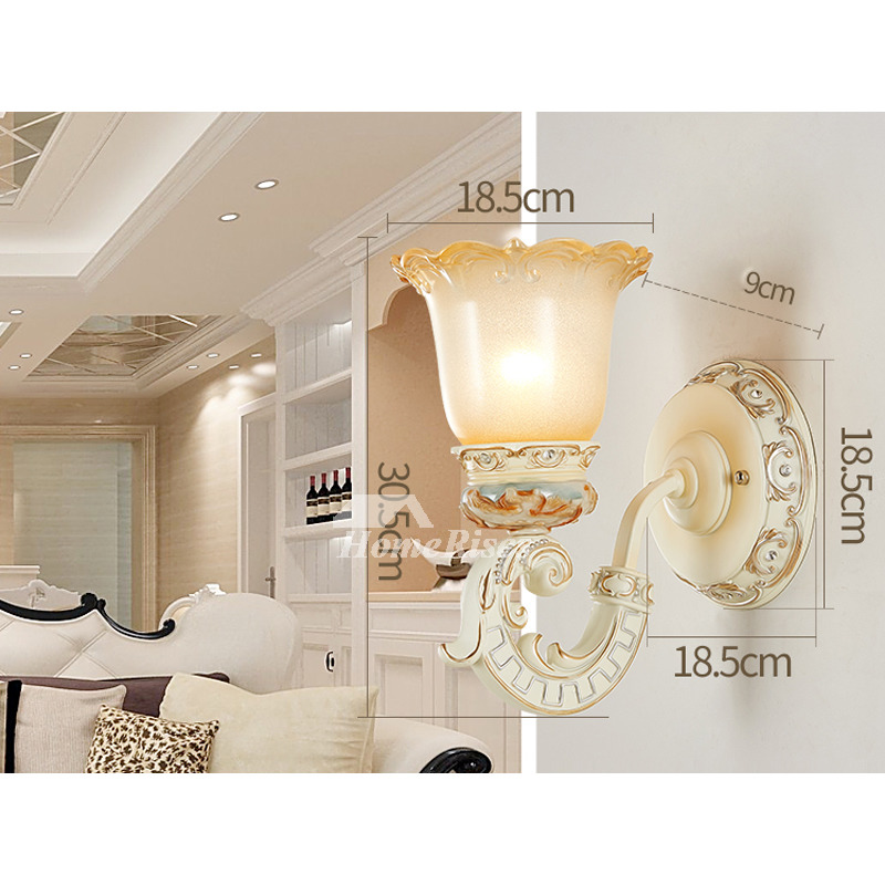 Bedroom 2 Light Wall Sconce Lights Indoor Decor Ivory White/ Brown Reading  Lamps Lantern Wall Mounted Bathroom