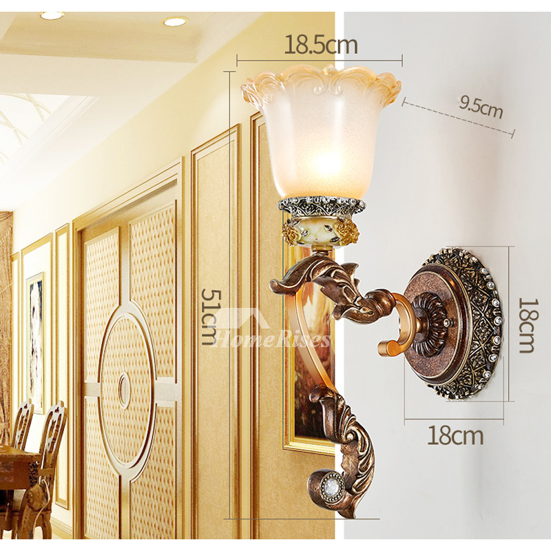 Modern Wall Sconces Decorative Bedroom 2 Light Decor Carved Reading Lamps  Wall Mounted Bathroom Flower Glass Lampshade Indoor