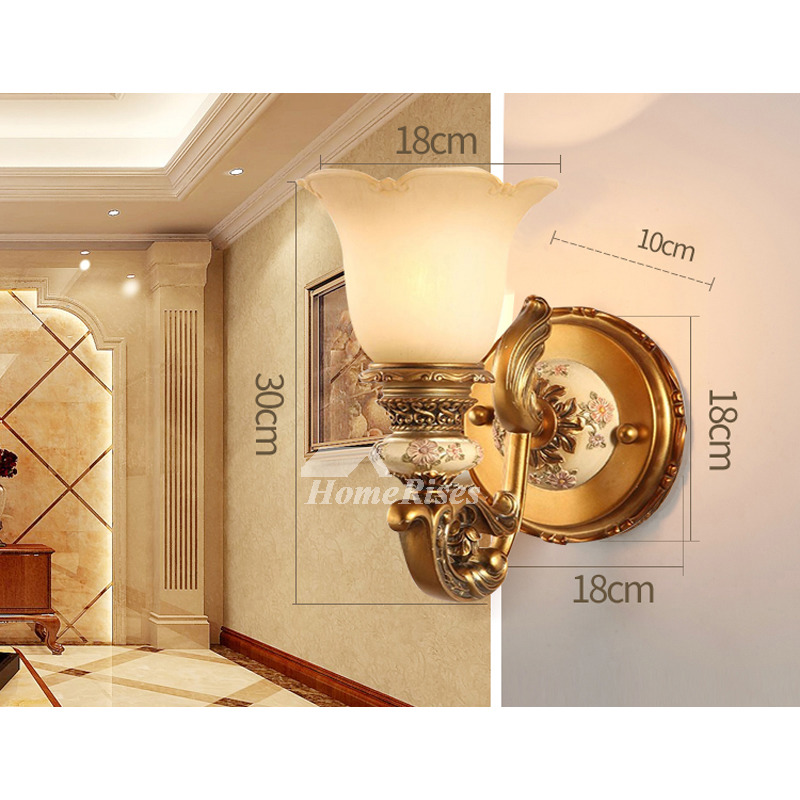 European Style Decorative Wall Sconces Indoor Bedroom Gold/ White 2 Light  Decor Flower Wall Lighting Fixture Reading Bathroom