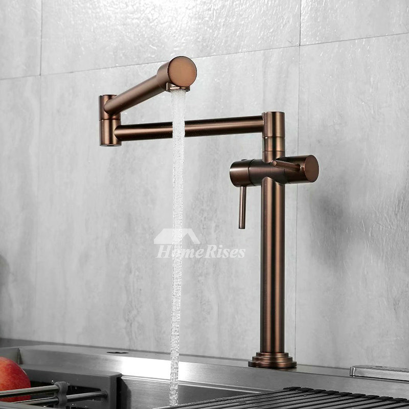 Black Gold Kitchen Sink Faucet Double Handle Brass Pot Filler Rotatable Oil  Rubbed Bronze Folding Water Faucet