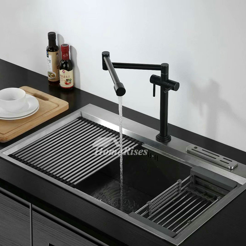 Black Gold Kitchen Sink Faucet Double Handle Brass Pot Filler Rotatable Oil Rubbed Bronze Folding Water