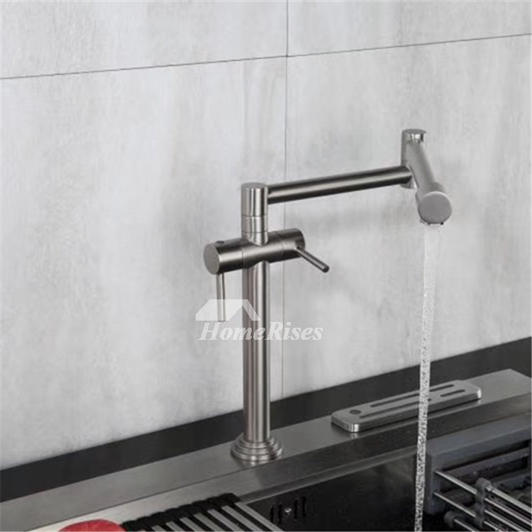 Commercial Style Kitchen Sink Faucet Brass Pot Filler Rotatable Folding Double Handle Water Faucet Brushed Chrome