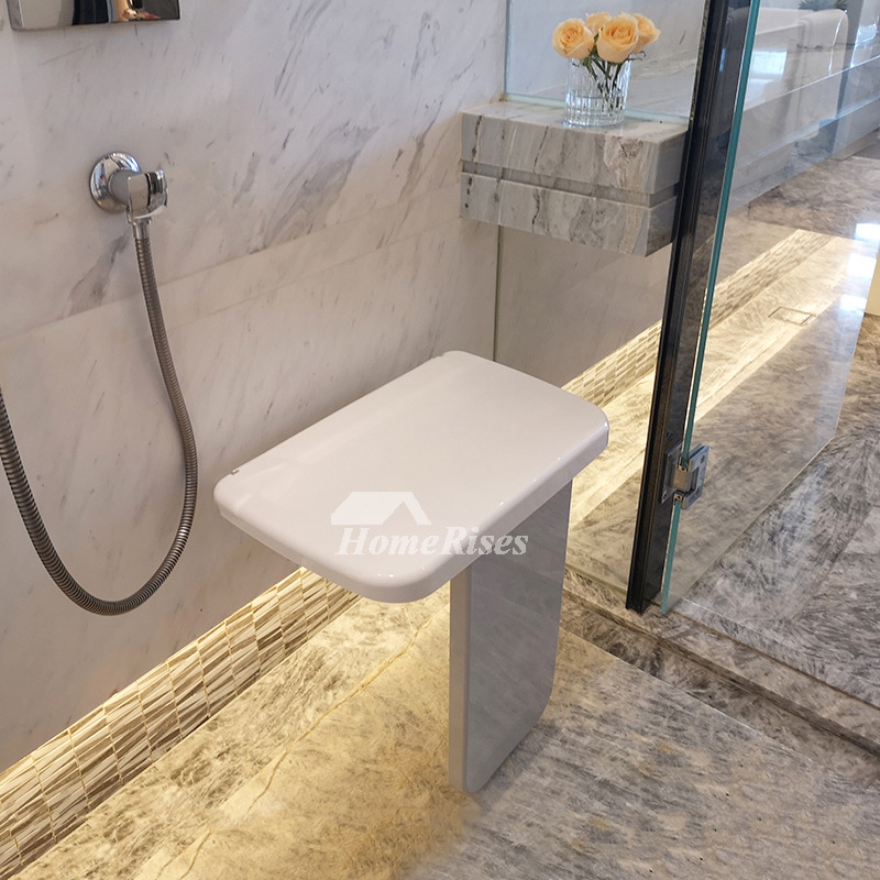 White Folding Shower Bench Seat With Legs Best Wall