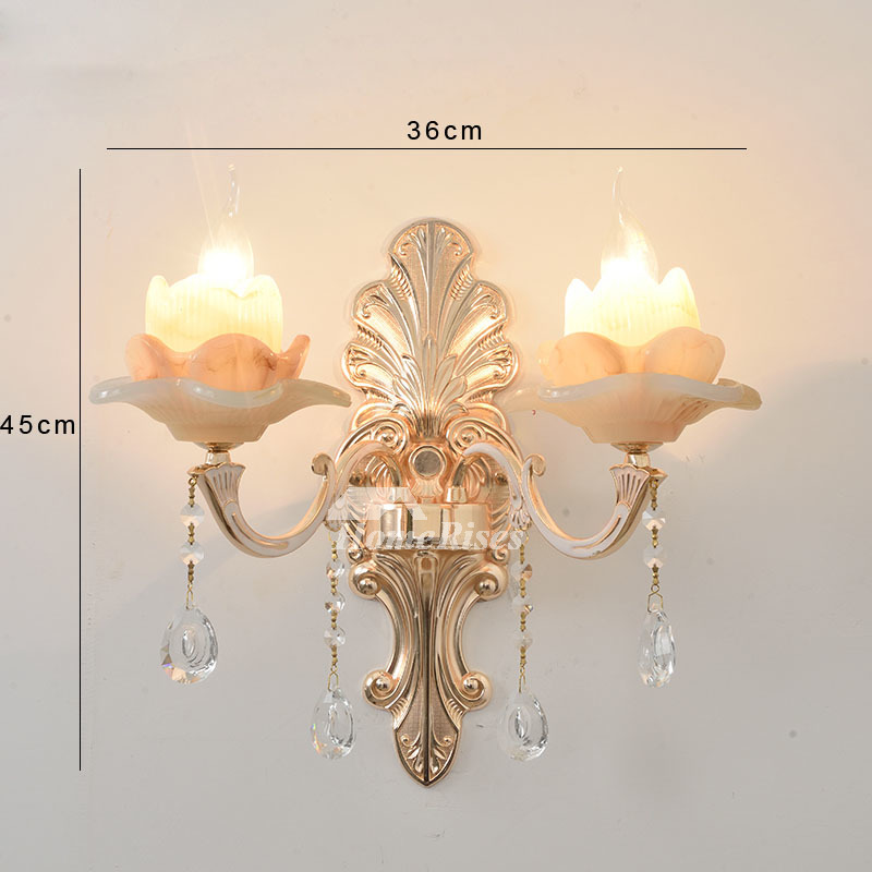Glass Crystal Candle Wall Sconce Flower Lamp Shade European Bedside Reading Hallway 2 Light Deco Bedroom