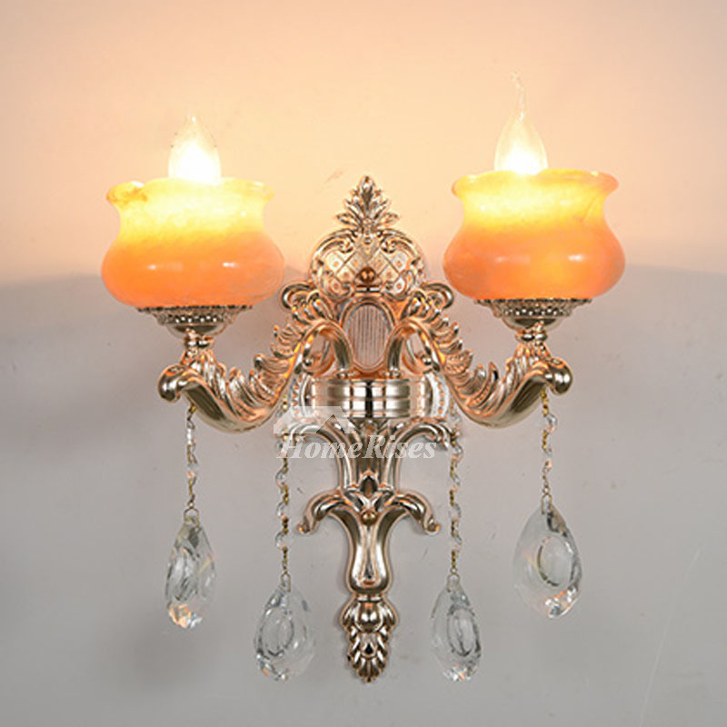 European Crystal Candle Wall Sconce Artificial Jade ...