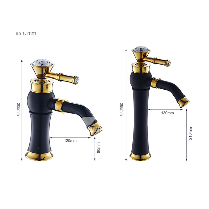 Tall Vessel Sink Faucet.Gold Copper Bathroom Faucet Matte Black Tall Vessel Sink Faucet Kitchen Polished Brass Crystal 360 Rotatable