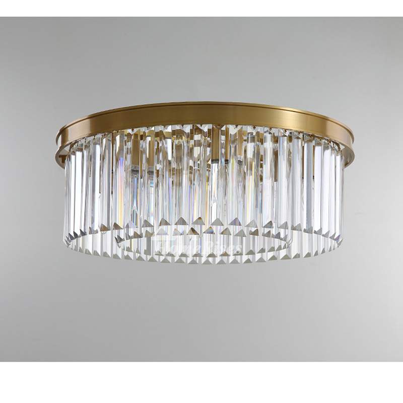 Solid Brass Flush Mount Crystal Ceiling Light Bedroom Decorative Living Room Large Round Luxury