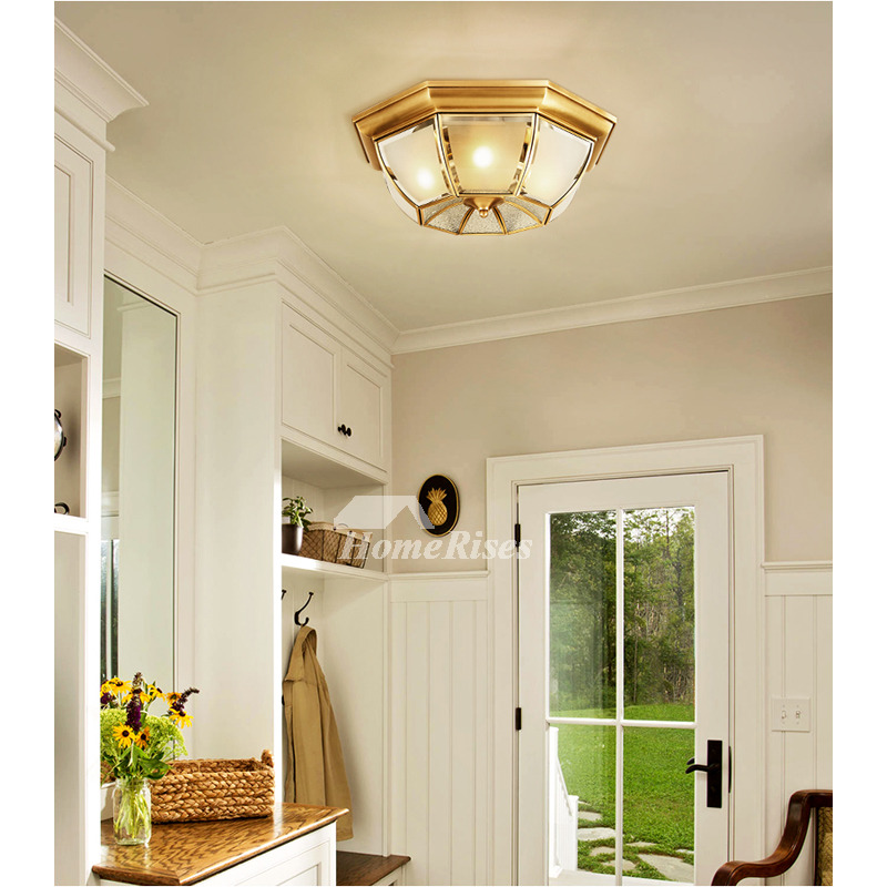 Golden Ceiling Light Fixtures Bedroom Flush Mount Solid Brass Frosted Glass  Shade Creative Vintage