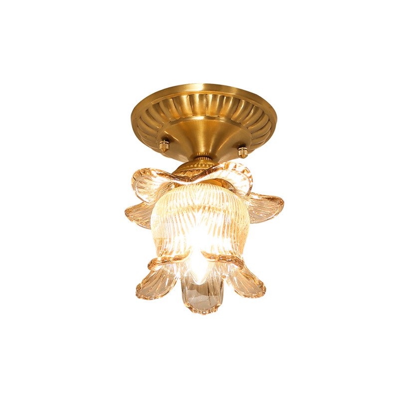 Solid Brass Gold Flush Ceiling Lights E14 Study Room
