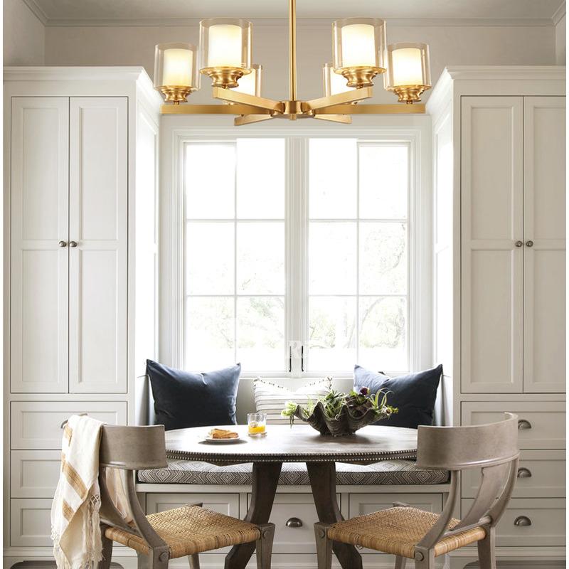 Living Room Lamp Chandelier Apartment Copper Modern Bedroom Restaurant  Brass Muli-light Glass Gold