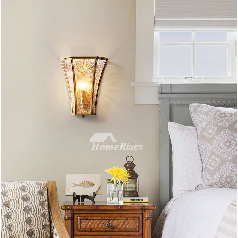 Solid Brass Single Wall Sconce Frosted Glass Shade Outdoor Wall Light Fixtures Bedroom Vintage Mounted Bedside