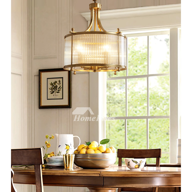 Solid Brass Gold Pendant Light Round Dining Room Living Ideas Art Glass Hanging Copper Clear Foyer