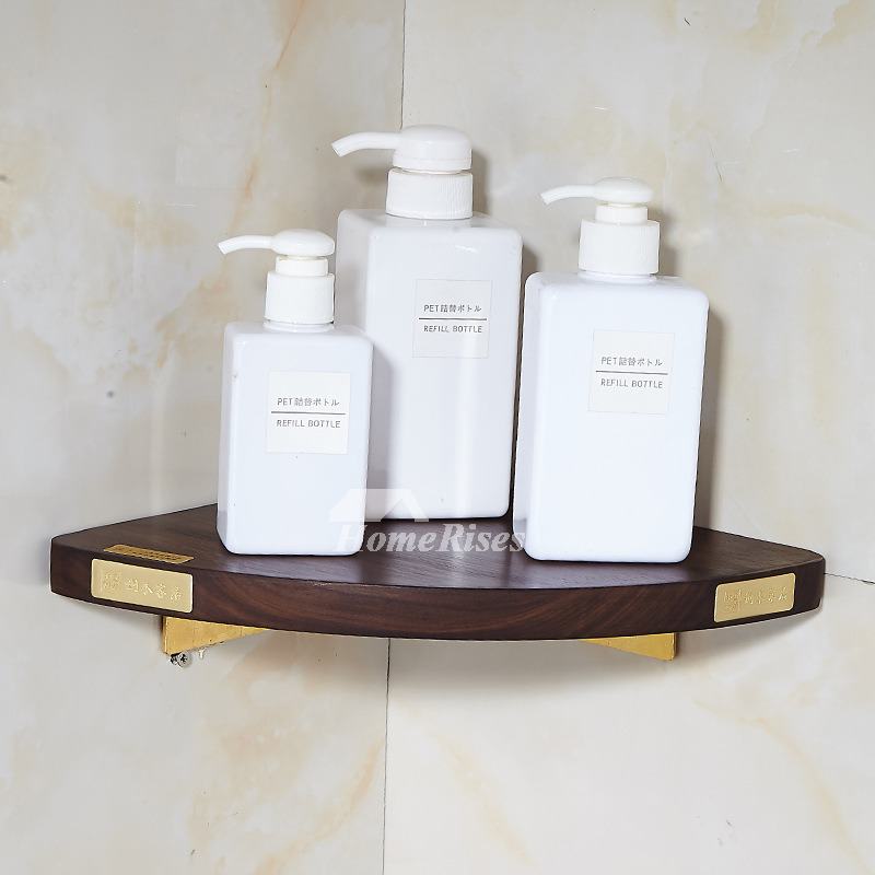 Luxury Black Walnut Wooden Shower Corner Shelf Brass Small Triangle  Bathroom Wall Shelves Decorative