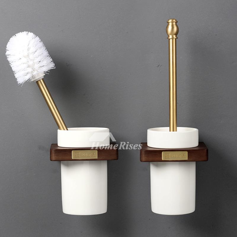 Walnut Wooden Toilet Brush Holder