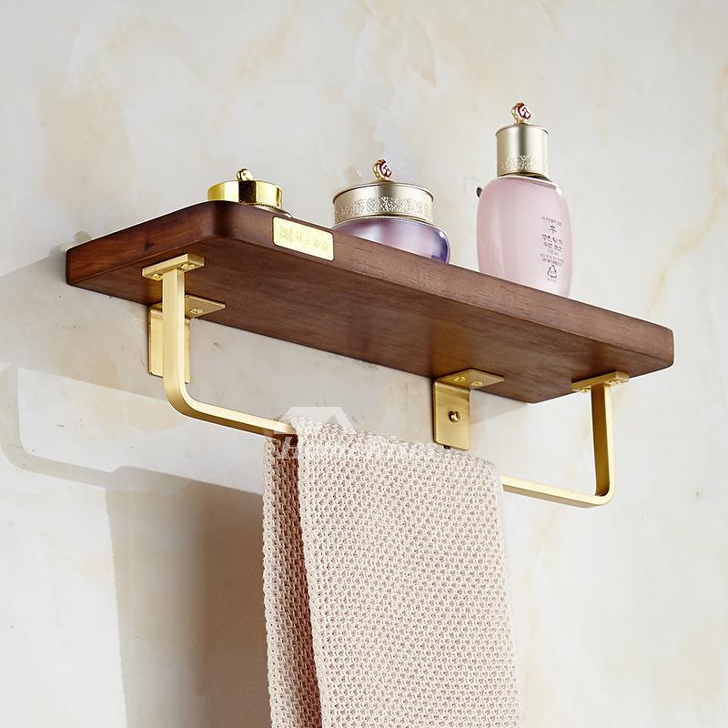 Luxury Walnut Wooden Bathroom Shelf With Towel Bar Unique Brushed