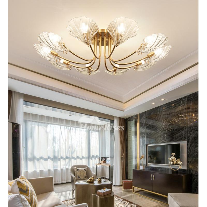 Petal Shape Crystal Chandelier Carved Copper Gold 6 8 10 Light