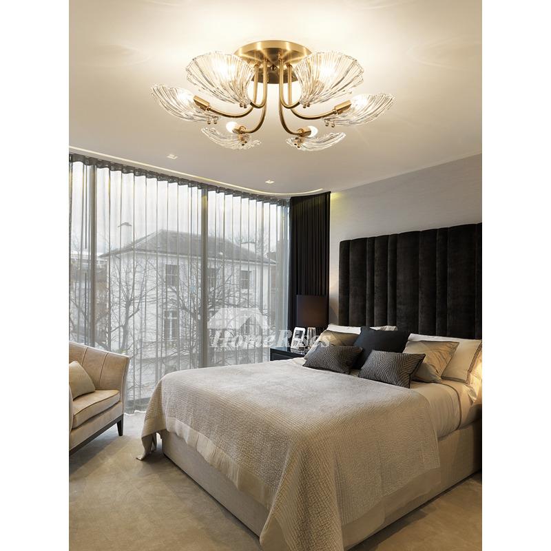 Petal Shape Crystal Chandelier Carved, Crystal Chandelier Bedroom Lighting
