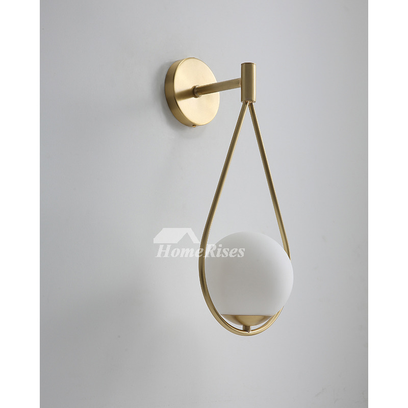 Copper New Nordic Modern Living Room Bedside Brass Wall Sconce Spherical  Glass Lampshade Cute E27