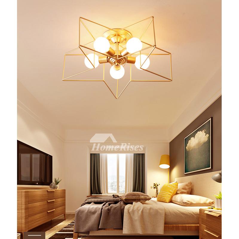 E27 Luxury Gold Living Room Light Pendants Pentagram Ball Chandelier  Craftsman Earrings Locker Glass INS