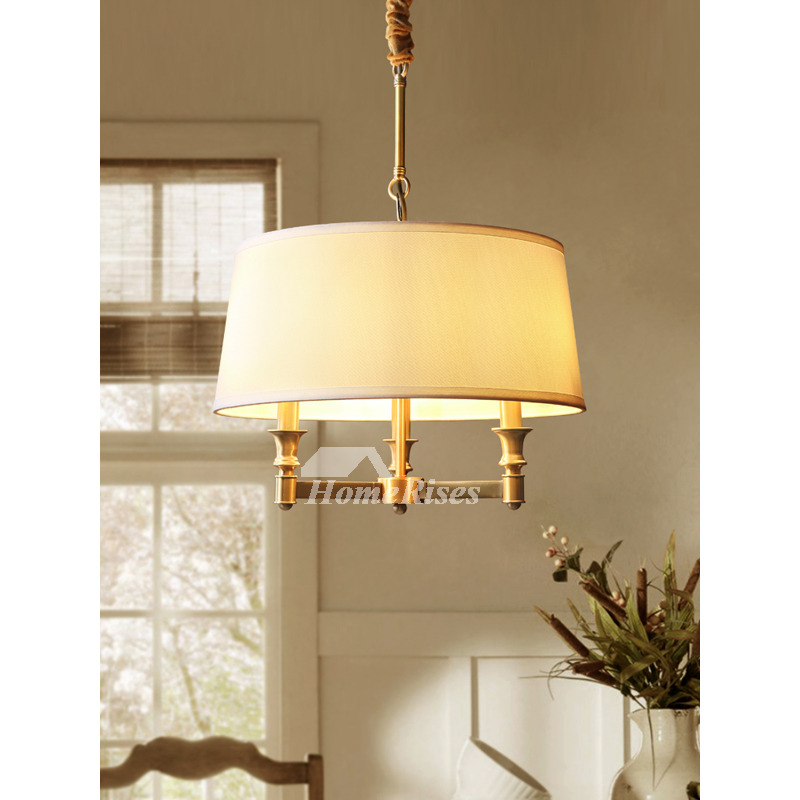 Burlap Pendant Light Brass Country Style Solid Brass Dining Room Adjustable  Chain Traditional Chandelier