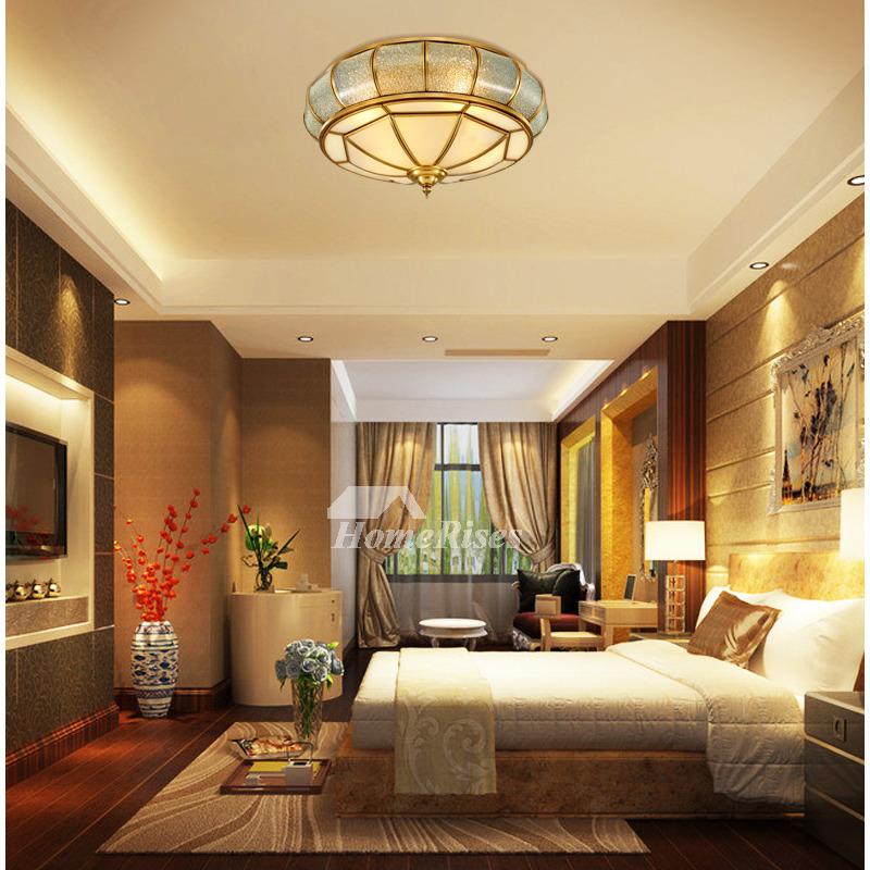 Round Ceiling Light Solid Brass European Style Flush Mount ...