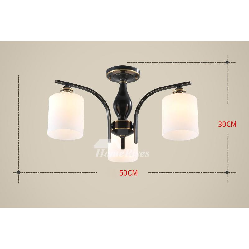 Modern Oil Rubbed Bronze Ceiling Lights Semi Flush Living Room Multi Light H65 Brass Black Glass