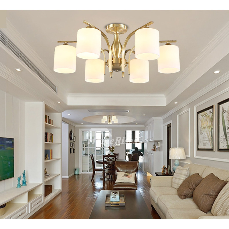 Modern Gold Ceiling Lights Semi Flush Living Room Multi ...