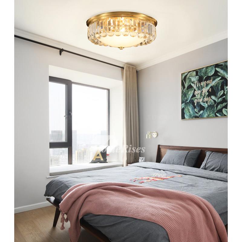 Crystal Flush Ceiling Lights Fixtures Solid Brass Bedroom Modern LED Warm  For Sale Craftsman Style Round