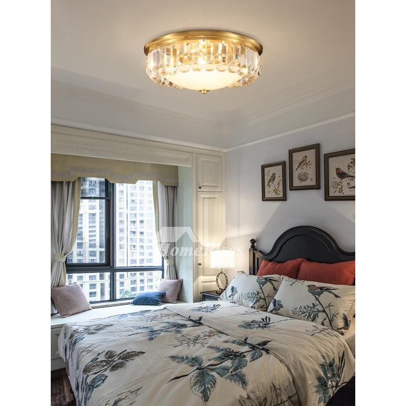 crystal flush ceiling lights fixtures solid brass bedroom