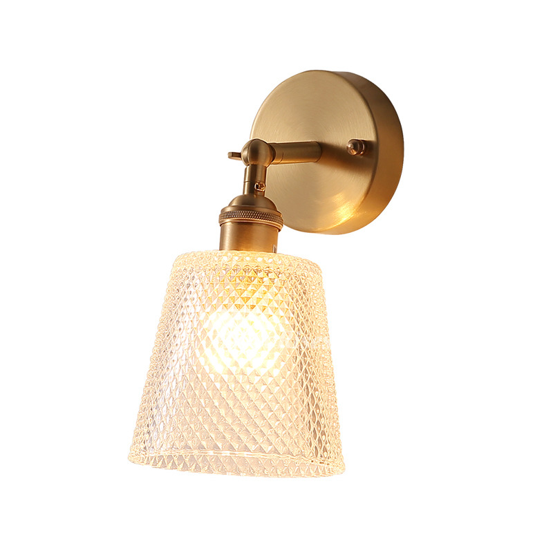 Br Swing Arm Wall Lamp Gold Bedside Bathroom Mirror Front Craftsman Art Gl Shade Adjule E27