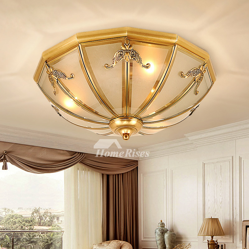Modern Ceiling Lights European Carved Brass Rustic Bedroom Balcony Flush  Living Room Low Profile E27