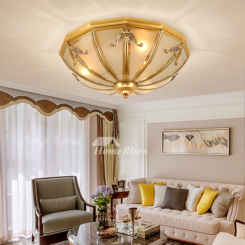 Modern Ceiling Lights European Carved Brass Rustic Bedroom Balcony Flush Living Room Low Profile E27