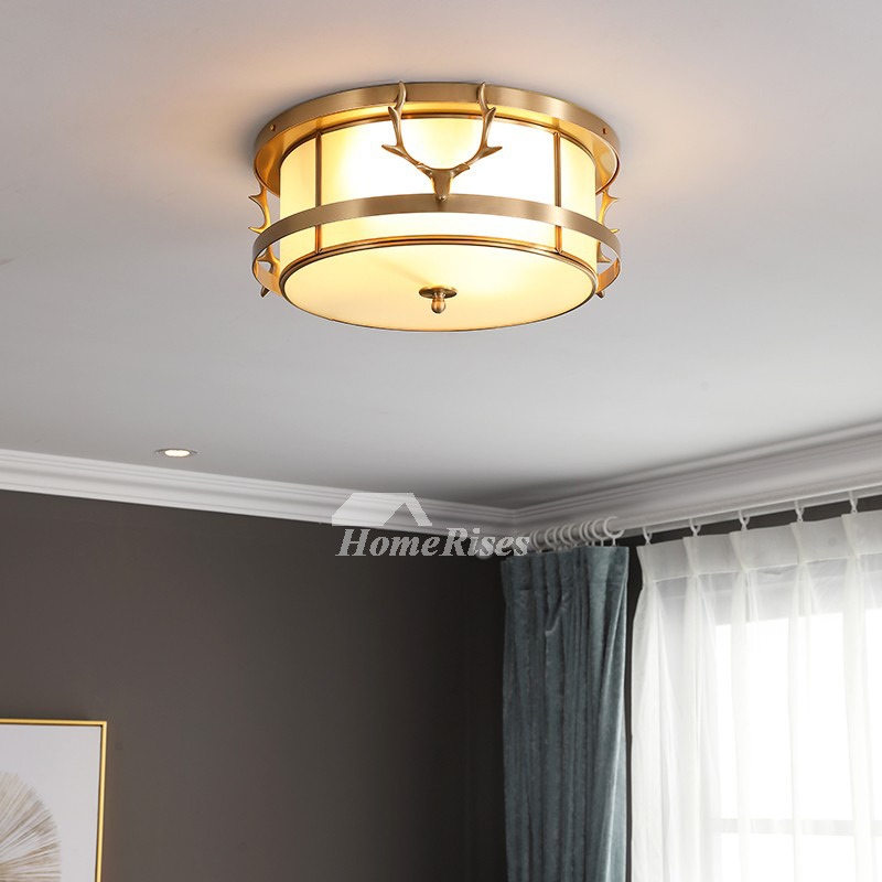 Antlers Creative Ceiling Light Bedroom Study Room Br Gold Frosted Gl Lampshade Round Living
