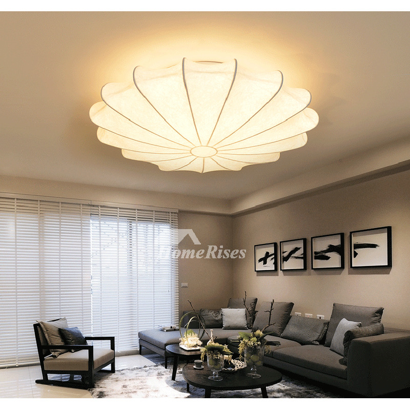Bedroom Ceiling Light Silk Shade White